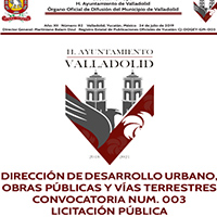 DIRECCIÓN DE DESARROLLO URBANO, OBRAS PÚBLICAS Y VÍAS TERRESTRES CONVOCATORIA NUM. 003 LICITACIÓN PÚBLICA