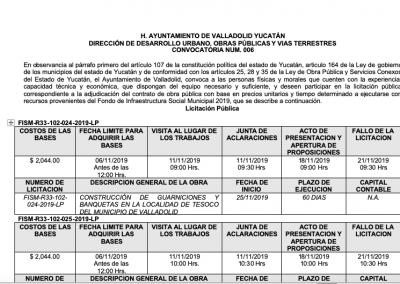 DIRECCIÓN DE DESARROLLO URBANO, OBRAS PÚBLICAS Y VIAS TERRESTRES CONVOCATORIA NUM. 006